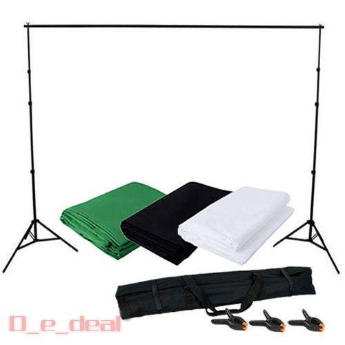 3 Hintergrund schwarz weiß grün Teleskop Hintergrundsystem Fotostudio Set Stoff