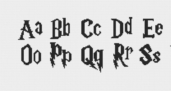 Harry Potter Cross Stitch Font Pattern Cross Stitch Fonts Cross Stitch Harry Potter Font
