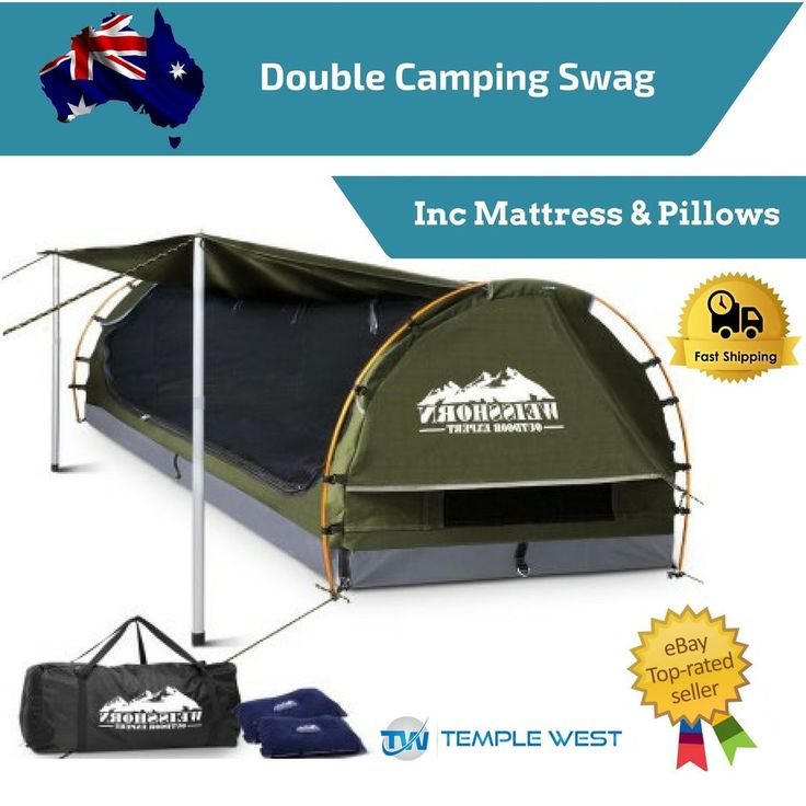 Double Camping Canvas Swag Mattress Air Pillow Tent Free Standing Hunting Dome
