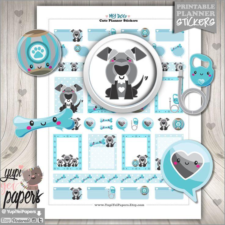 50%OFF - Dog Stickers, Planner Accessories, Schnauzer Stickers, Puppy Dog, Printable Stickers, Puppy Stickers, Use in Erin Condren