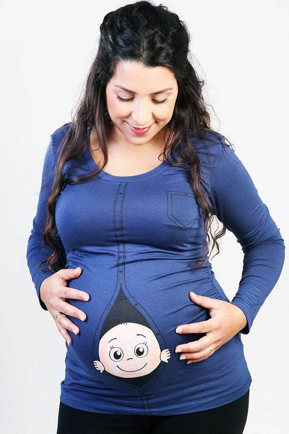 """Funny Maternity """"peek a boo"""" baby shirt. Original & cool Maternity shirts thin fabric with Long sleeves. Share your pragnancy"""