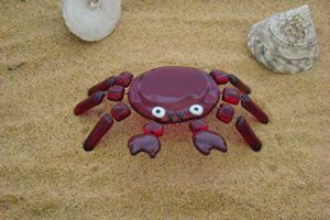 3-D fused glass crab
