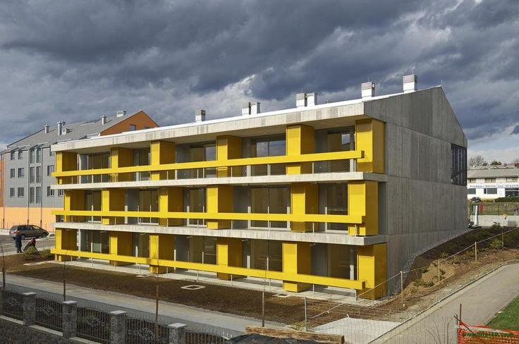 bevk perović arhitekti designed the 'Housing for the Elderly' in Slovenia. http://en.51arch.com/2013/08/a105-housing-for-the-elderly/