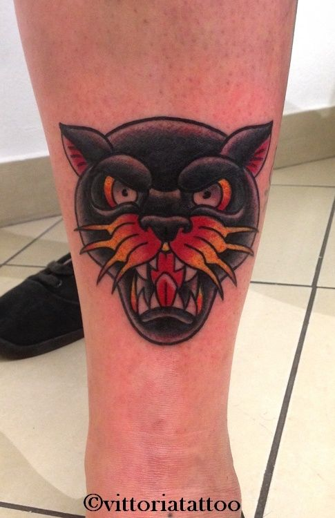 old school panther tattoo #oldschoolpanthertattoo #oldschool #tattoosbyvittoria #como #viavolta49 #vittoriatattoo #panther