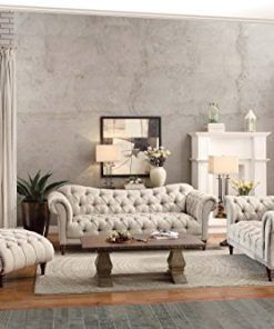 Homelegance Chesterfield Traditional Style Sofa With Tufting And Rolled Arm Design Brown Almond Wall S Furniture Decor
