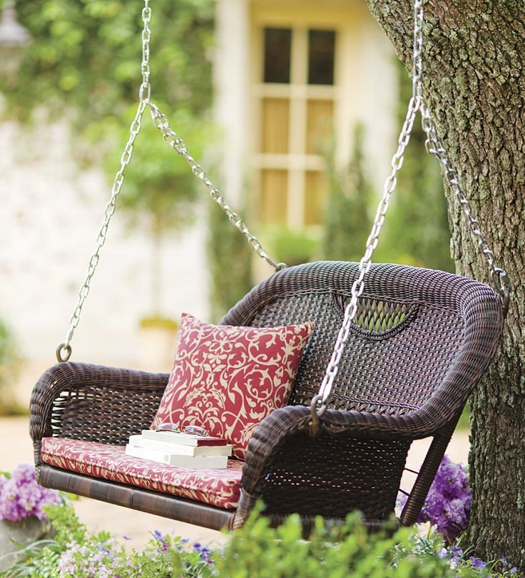 Prospect Hill All-Weather Wicker Double Swing use the one at the cottage for the tree in the front yard