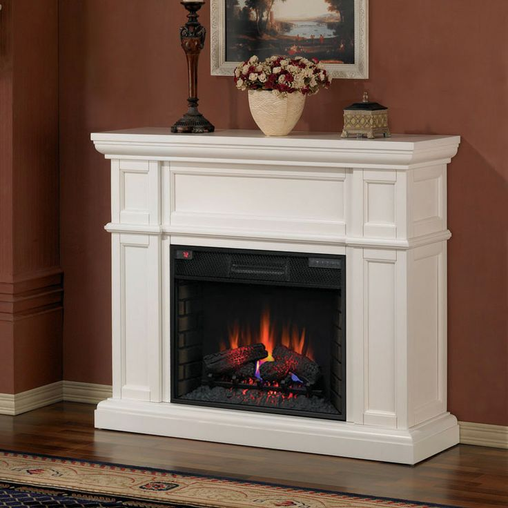 Classicflame Artesian Infrared Electric Fireplace Mantel Package In White 28wm426 T401