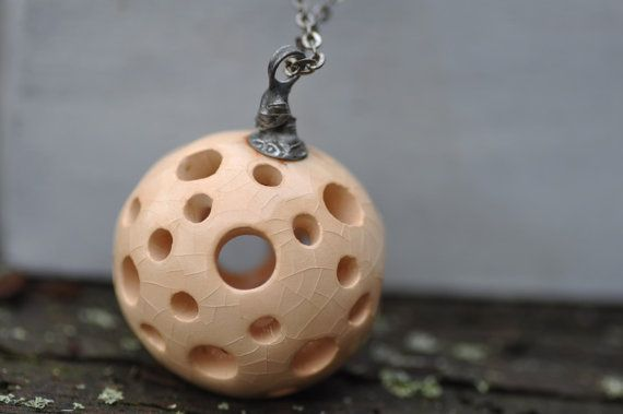 Ceramic jewelry color ecru necklace sphere necklace by zolanna