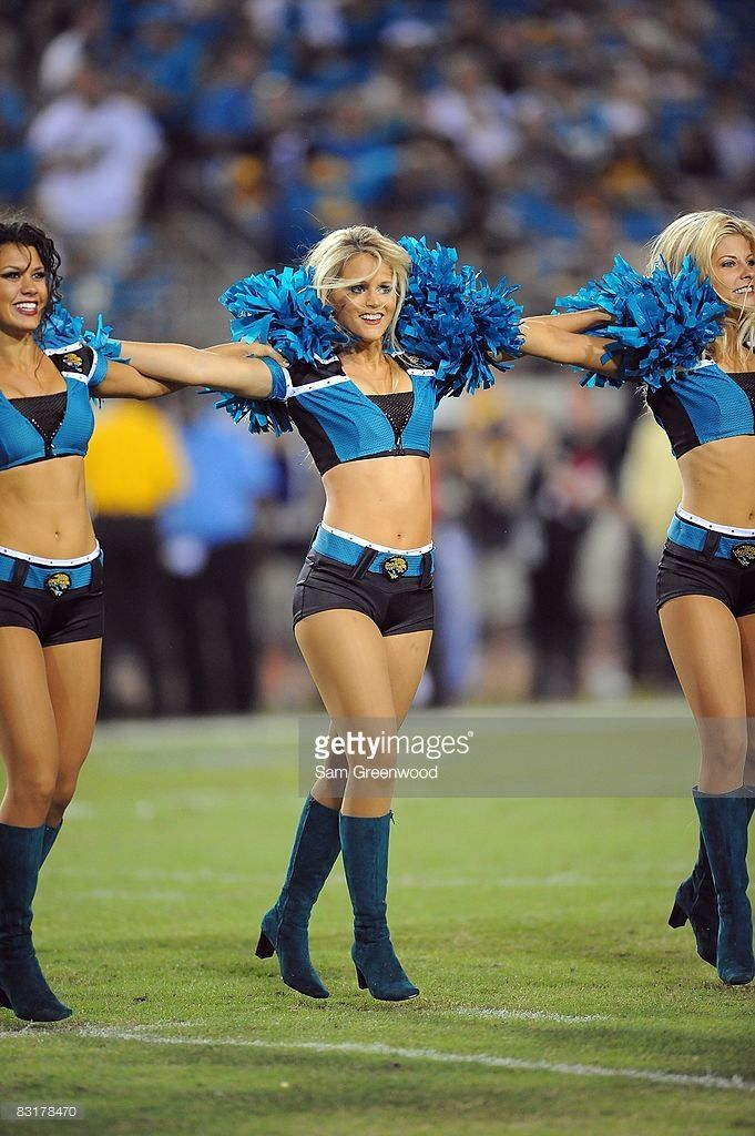 Cheerleaders of the Jacksonville Jaguars performs on the field during the game against the Pittsburgh Steelers at Jacksonville Municipal Stadium on October 5, 2008 in Jacksonville, Florida.