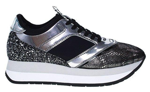 Bikkembergs Sneaker mit Plateau | schwarz-silber