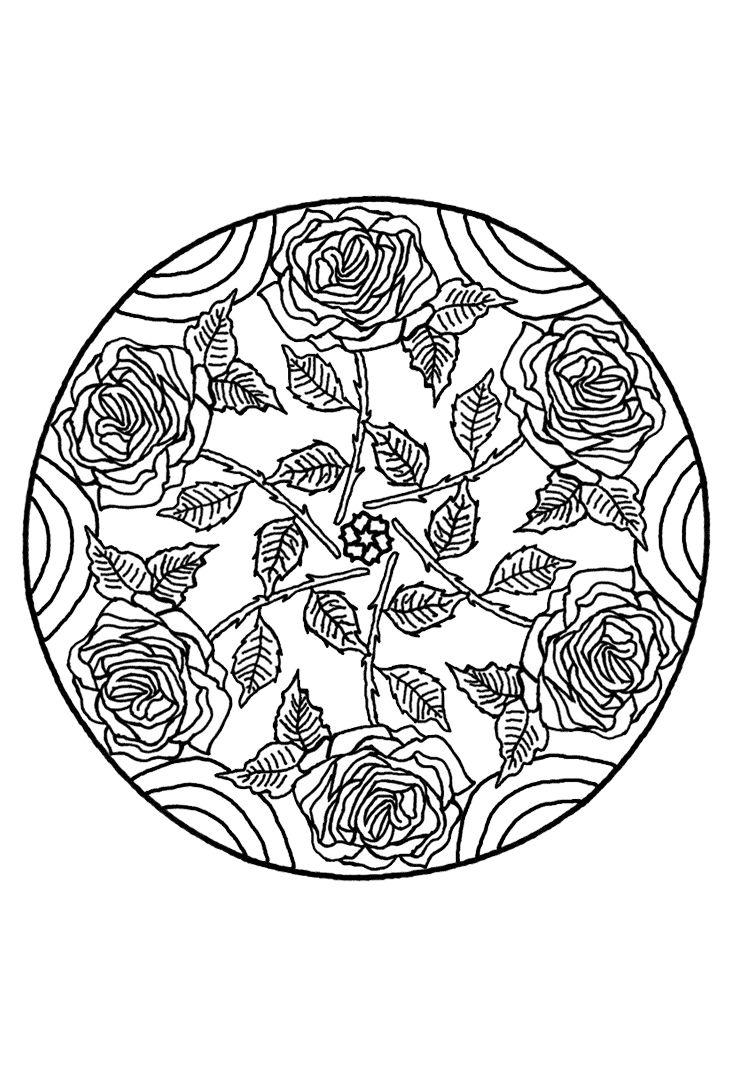 rozenstruik mandala mandala kleurplaten mandala