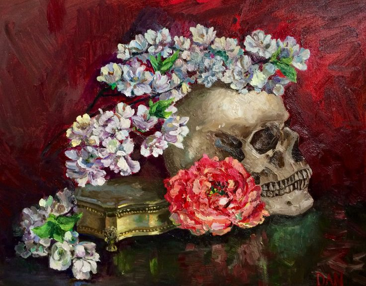 Skull and flowers oil on canvas 16x20 in