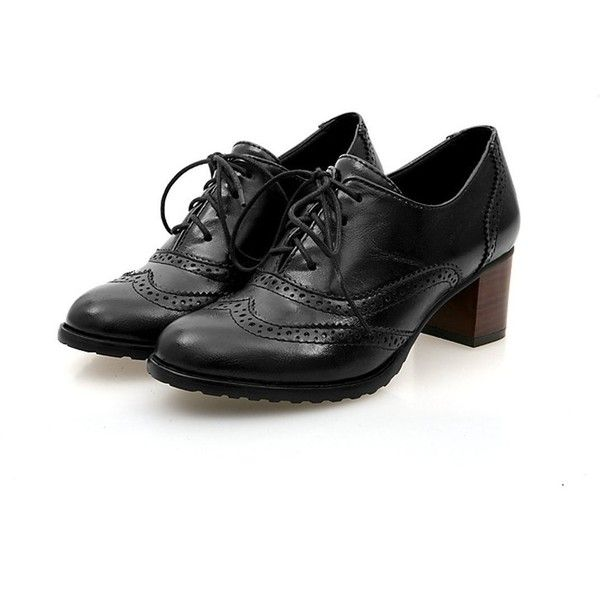 England Brogue Shoe Womens Lace-up Mid Heel Wingtip Oxfords Vintage PU... ($19) ❤ liked on Polyvore featuring shoes, oxfords, oxford brogues, brogue oxford, vintage shoes, balmoral oxfords and brogue shoes