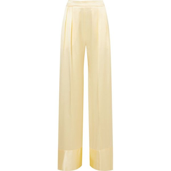 Michael Lo Sordo Silk-satin wide-leg pants (4.955 NOK) ❤ liked on Polyvore featuring pants, pastel yellow, wide leg pants, wrap pants, beige pants, pastel pants and satin wide leg pants