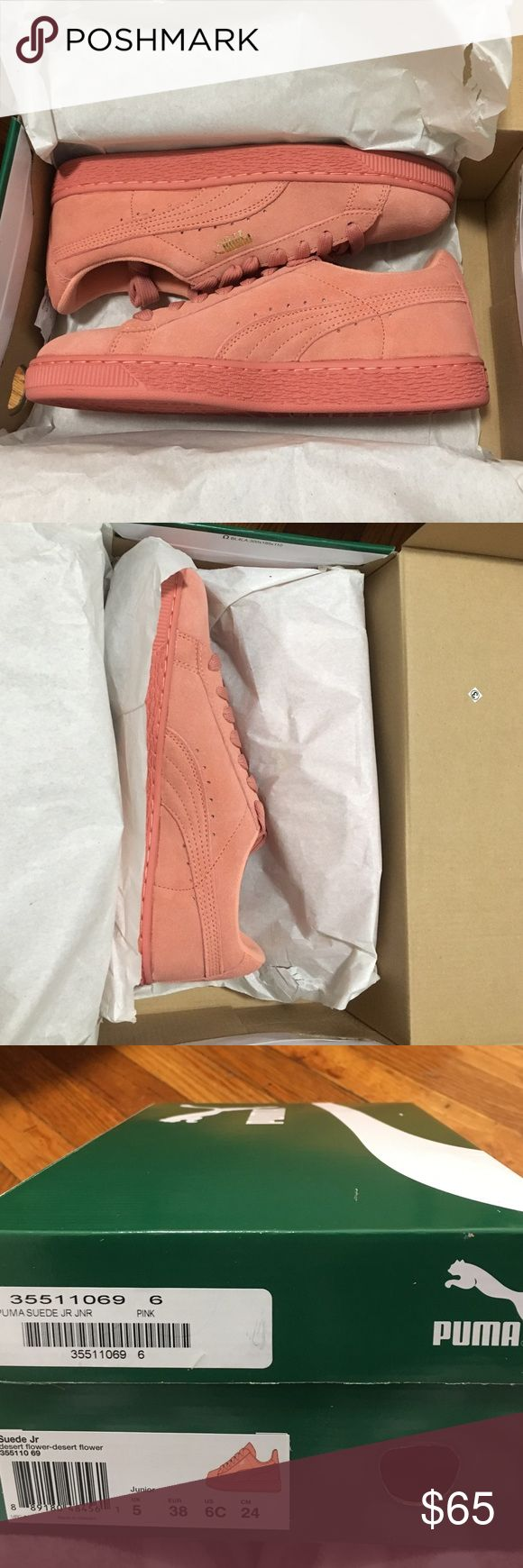 Pink Suede Pumas 🌸PRICE WILL NOT LOWER!🌸Will exchange them for the exact same color brand new and size 4 in girls(6 in women).❗️These are a US size 6 in Youths.(8 in women) So they are bigger than a women US 6❗️ They're not a bright pink they're a gorgeous baby pink🌸 Puma Shoes Sneakers