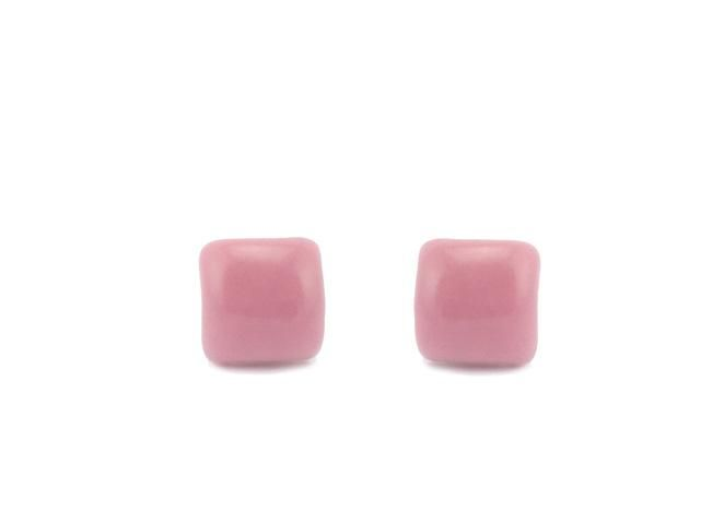 Hand-painted Ceramic Pink Square Earrings $15 from Lululoft, Melbourne, Australia