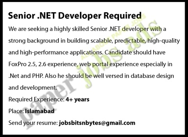 SENIOR .NET DEVELOPER REQUIRED