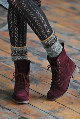 Burgundy footwear paired with tights is a cute and fun twist on a fall classic.