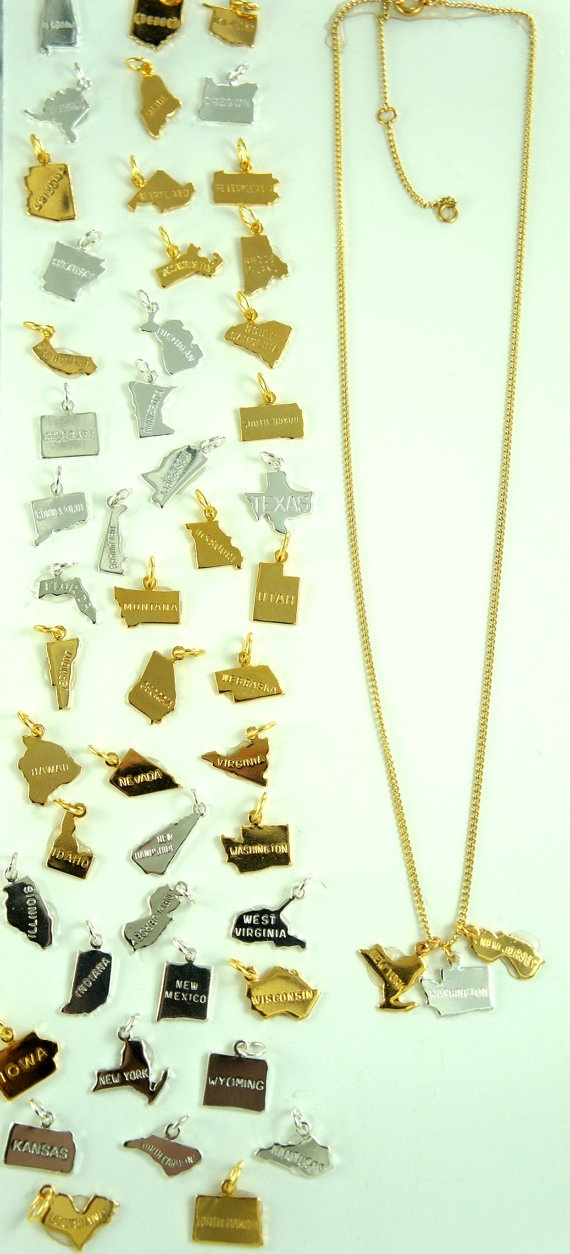 Birdhouse Jewelry - one state charm. $5.00, via Etsy. Love. Need Illinois, Missouri, Arkansas. Maybe California.
