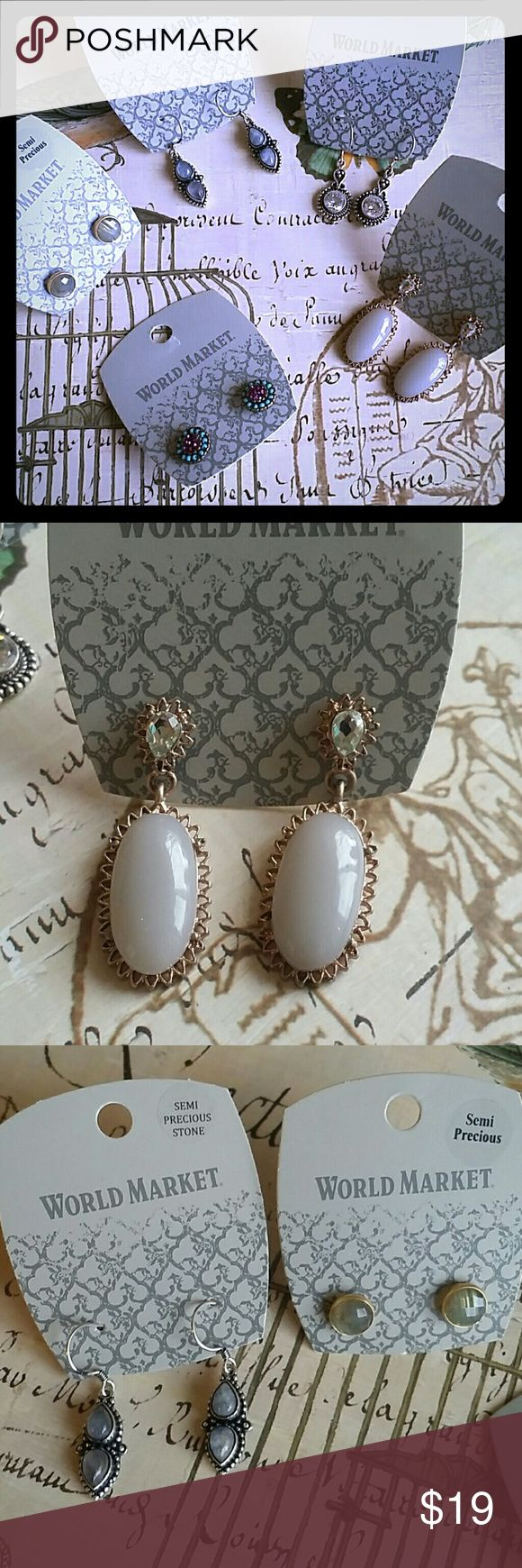 💎🌟Semi-precious 5pc earrings lot! ALL NWT🎀🌟 🌟 5 pairs of earrings as pictured  💎 ALL BRAND NEW WITH TAGS FROM WORLD MARKET  🎀 2 are marked Semi-precious  🌟 both silver and gold tones  💎 Nickel and lead free  🎀 Gorgeous boho and Glam styles!  🌟 High quality materials  💎 I SHIP WITHIN 24 HOURS!   🎊 SAVE ON BUNDLES 🎊  SHARE, I'll always share back!   😄🎀CHECK OUT MY CLOSET FOR MORE GREAT DEALS ON HIGH END BAGS, COSMETICS, TOYS, JEWELRY AND MORE!🎀😄 WORLD MARKET  Jewelry Earrings