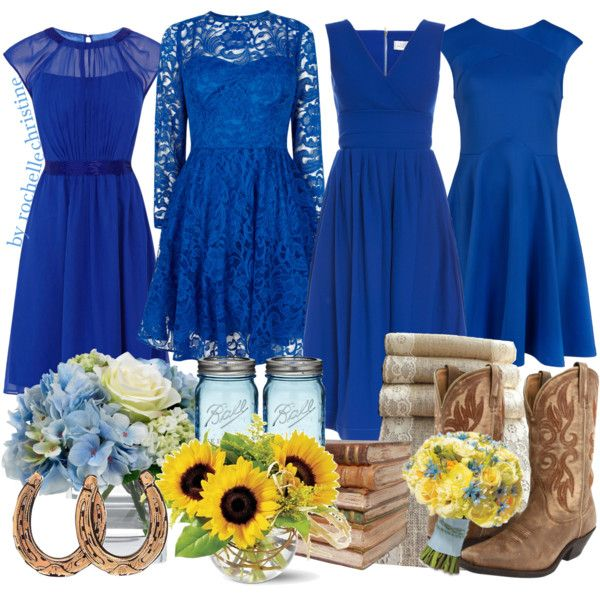 """Royal Blue Country Wedding"" by rochellechristine on Polyvore"