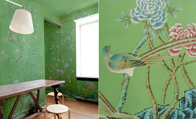 Modern chinoiserie 'Qing Dinasty Garden'design from Misha wallpaper, hand painted on Green Emerald silk.