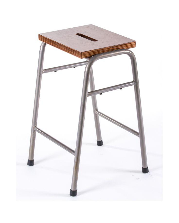 Lab bar stool - raw metal varnish 75cm