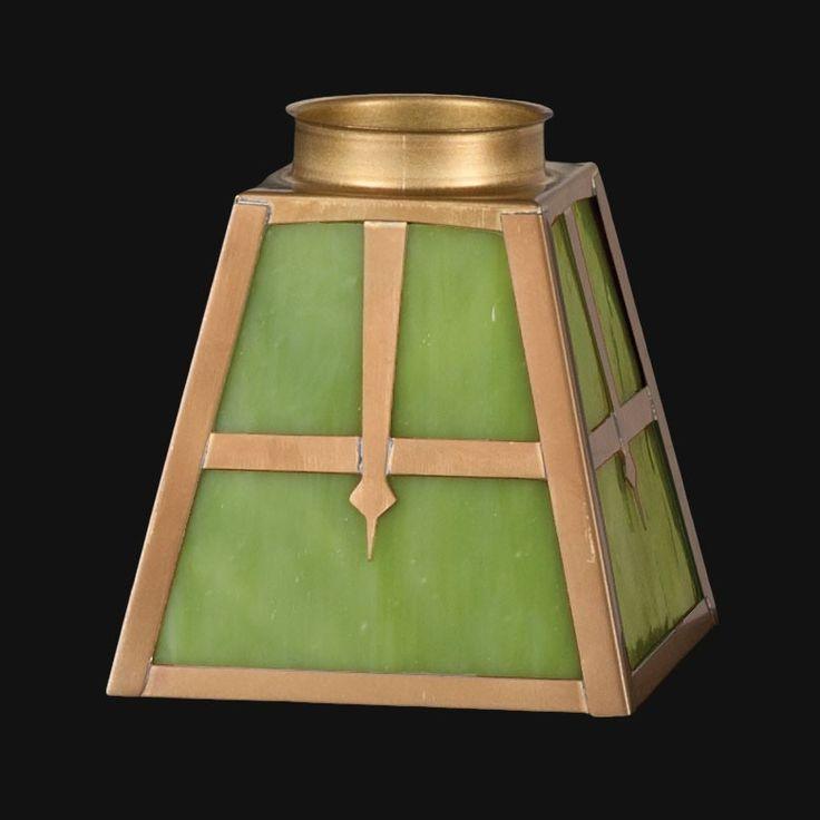 """2 1/4"""" Fitter, Arts & Crafts Green Stained Glass Fixture Shade    Antique Lamp Supply"""