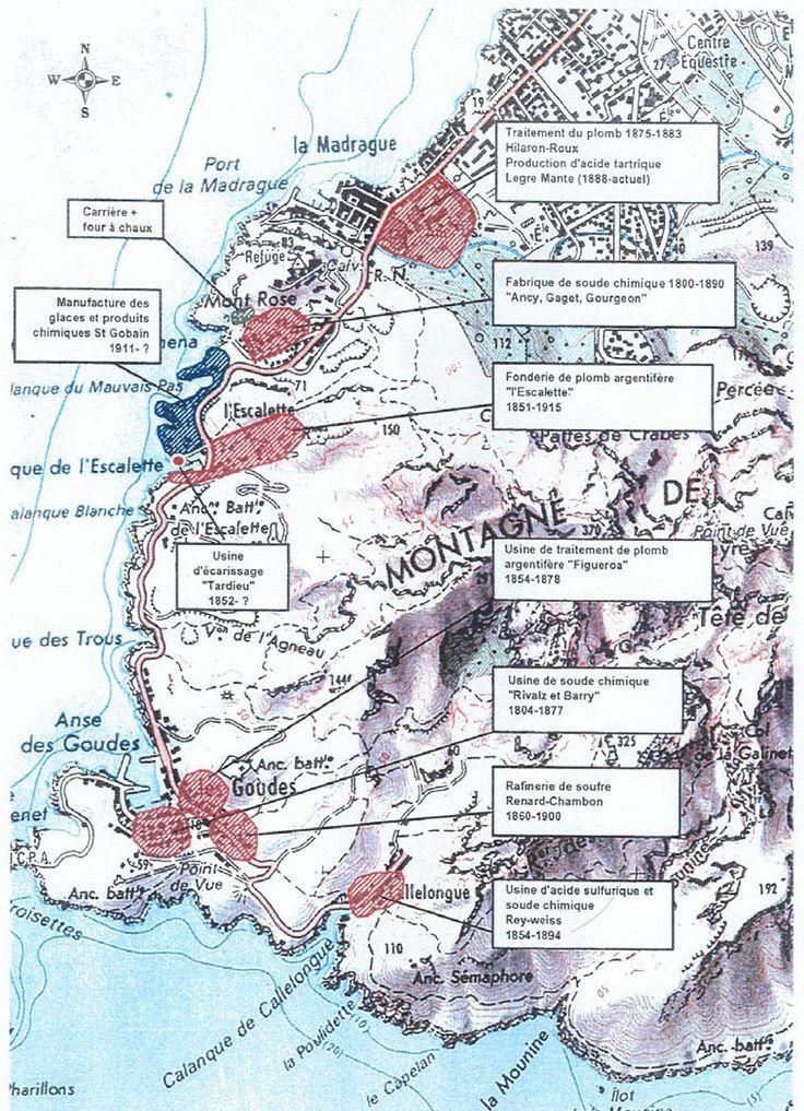 Carte des anciennes usines des calanques