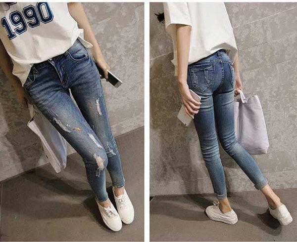 Celana Panjang Jeans Robek Wanita Online Terbaru B2785