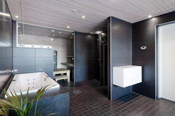 Kivitalon upea musta kylpyhuone