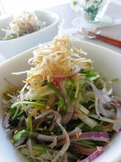 水菜とパリパリごぼうのじゃこサラダ。   美肌レシピ
