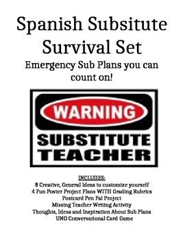 Too lazy to write your Emergency Sub Plans for the school year? Don't fear! The Ultimate Spanish Substitute Teacher Plans are here! These Spanish class substitute plans are designed for the Sub who does NOT speak Spanish. Read now, organize yourself for the school year!