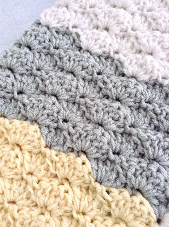 Yellow grey and white blanket crochet baby blanket by designbyAW
