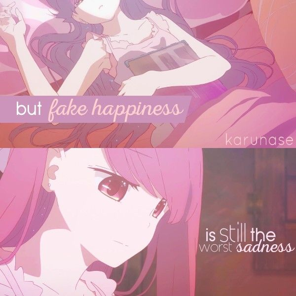 """""""But fake happiness is still the worst sadness.."""" -Anime Music Video : Shelter by Porter Robinson & A-1 Pictures -edited by Karunase Source: karunase.tumblr.com"""