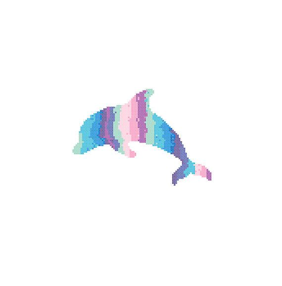 Dolphin Cross Stitch Pattern blue pink wall art sea life