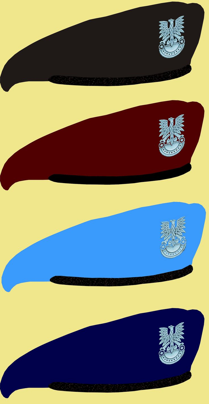 Polish People's Army berets (from top to bottom): Armored corps, airborne units, marines, and Navy