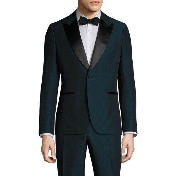 Tom Ford Men's Silk Peak Lapel Blazer - Blue, Size xl/48 ($1,699) ❤ liked on Polyvore featuring men's fashion, men's clothing, men's sportcoats, green, men's sportcoats and blazers, men's apparel, mens green blazer, mens blue blazer and mens short sleeve blazer