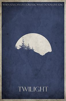 These trendy minimalist movie posters are popping up everywhere. This Twilight movie poster design has a gritty, grungy, vintage feel. Twilight Forever! This fun poster design looks great on T-shirts, hoodies and other merchandise too!