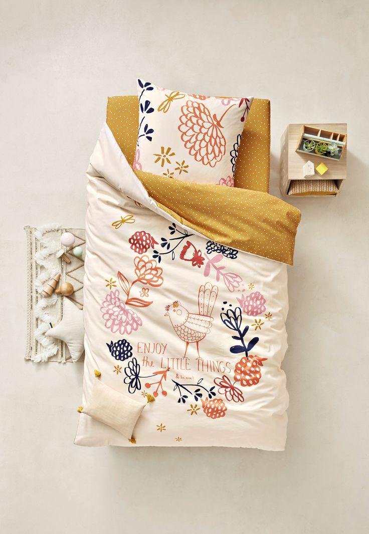 VERTBAUDET - Romantisme et touche d'exotisme haute en couleurs pour cet ensemble housse de couette + taie d'oreiller de belle qualité.