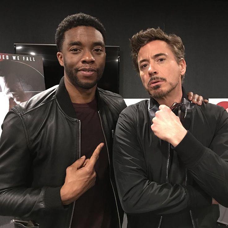 Chadwick Boseman and Robert Downey Jr. at Buzzfeed's AnswerTime