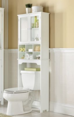 Six-Cubby Space Saver fits over a toilet to greatly increase your bathroom storage space. It has open cubbies and a cabinet with two glass panel doors and one adjustable shelf.