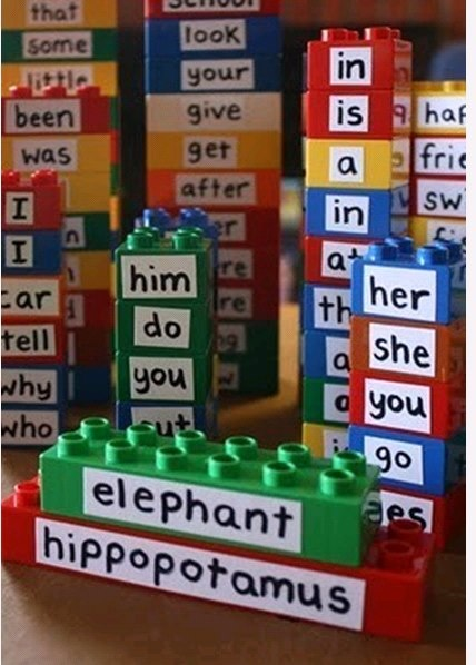 Now that's a usable idea in a  classroom or at home. Mobile too! In a ziplock, in the car, anywhere. I'm thinking word family towers!  Lego words