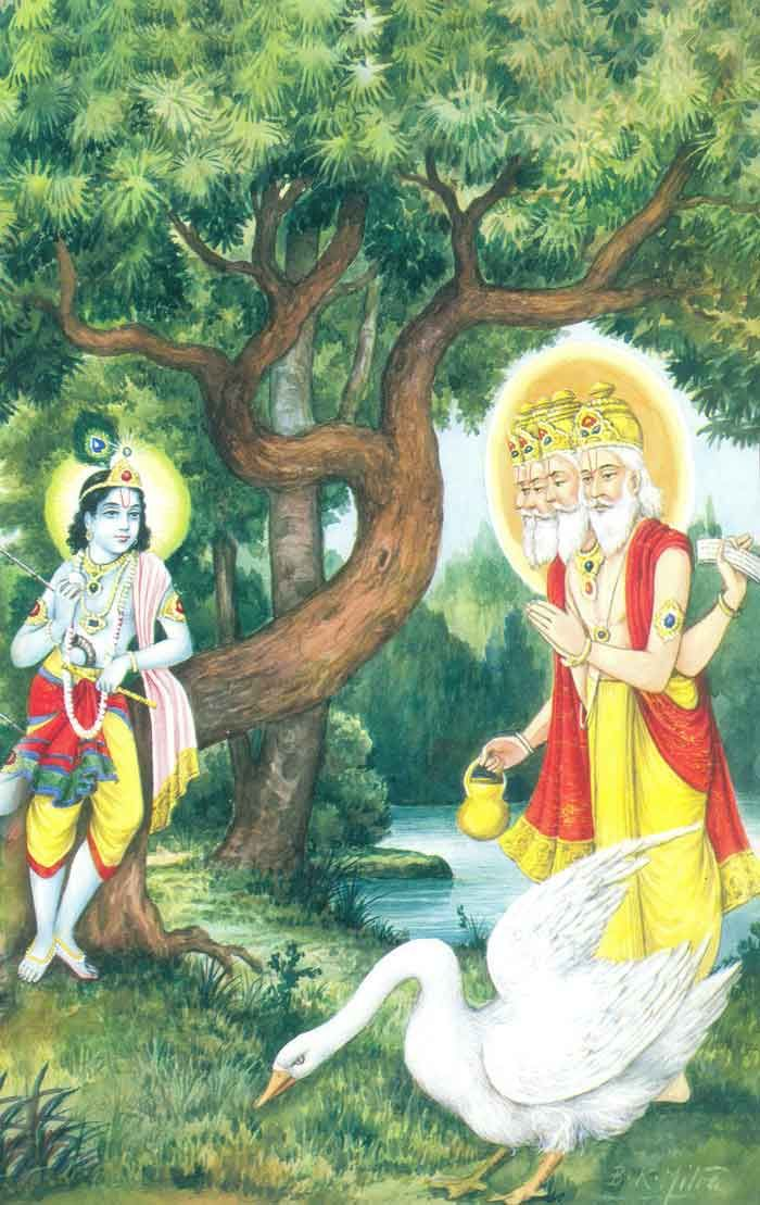 Even Lord Brahma, the creator, humbly stands before youthful Krishna with folded hands.