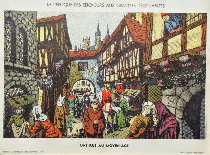 """Manuels anciens: Affiche histoire n°9 """"Une rue au Moyen-Âge"""""""