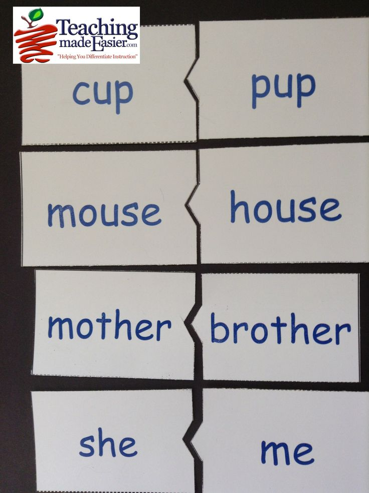Dr. Seuss's 'Hop on Pop' rhyming - word family matching puzzle pieces activity. Create in 3 Easy Steps with TeachingMadeEasier.com.