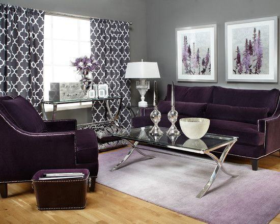 Living Room Purple Curtain Design Pictures Remodel Decor And Ideas