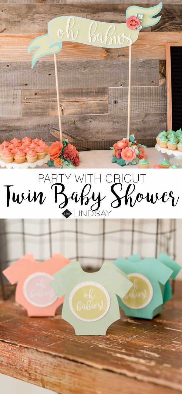 Twin baby shower ideas using your Cricut Explore #partywithcricut #cricutmade #ad