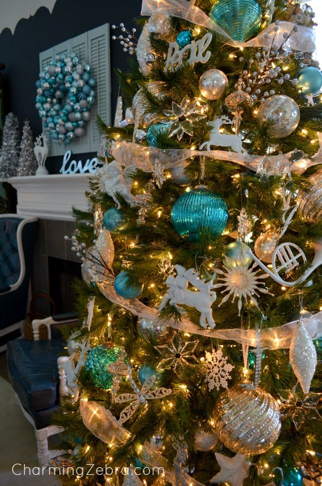 Christmas Decorations In Blue And Brown : Turquoise silver white decor charming zebra making