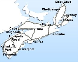 Tour Map - Grand Nova Scotia Tour